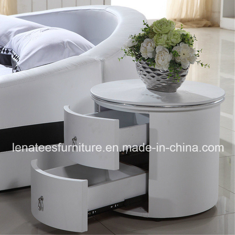 China t25 round shaped white leather bedside table photos pictures t25 round shaped white leather bedside table watchthetrailerfo
