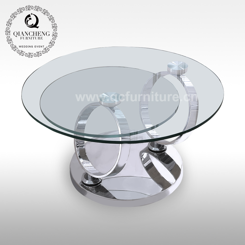 China Home Decor Living Room Modern Glass Round Rotating Coffee Table Photos Pictures Made In China Com