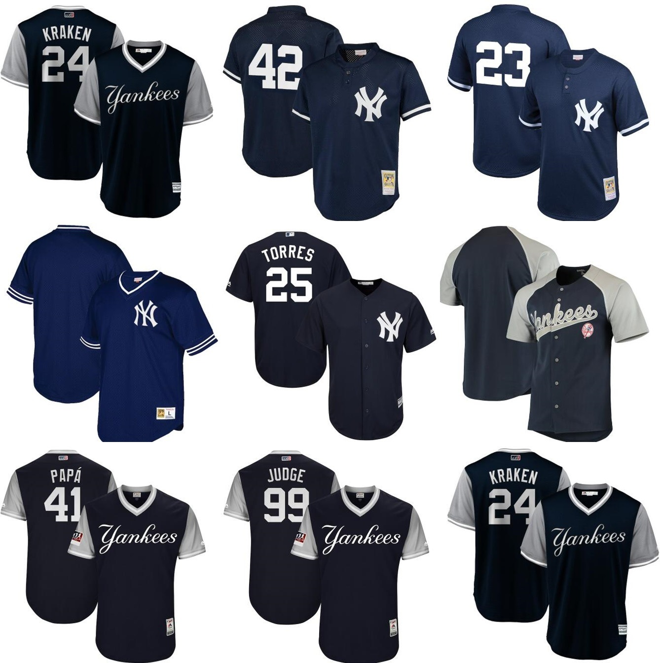 new styles 2f2c5 7ee60 [Hot Item] New York Yankees Mariano Rivera Navy Cooperstown Collection Mesh  Batting Practice Jersey