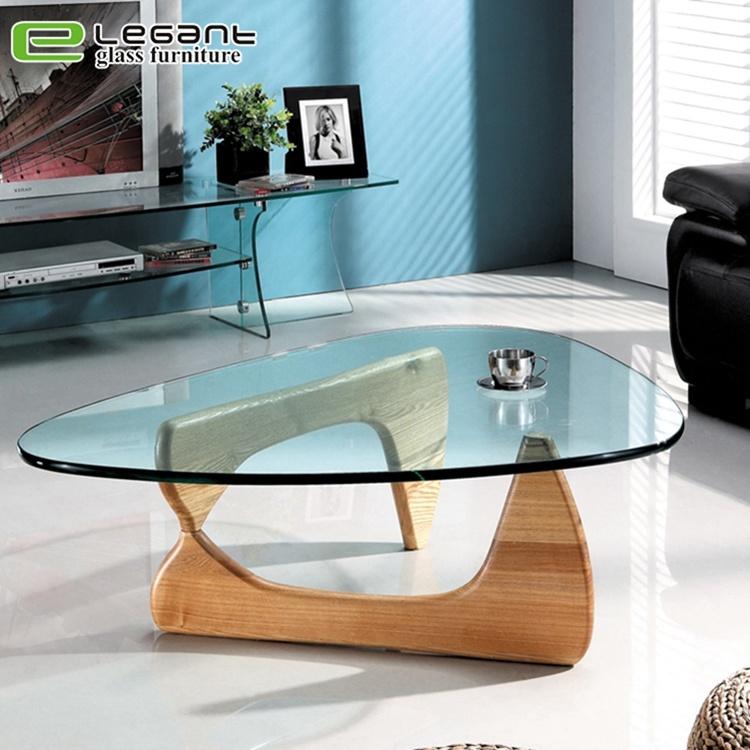 Hot Item Fashion Triangle Gl Coffee Table With Ashtree Base