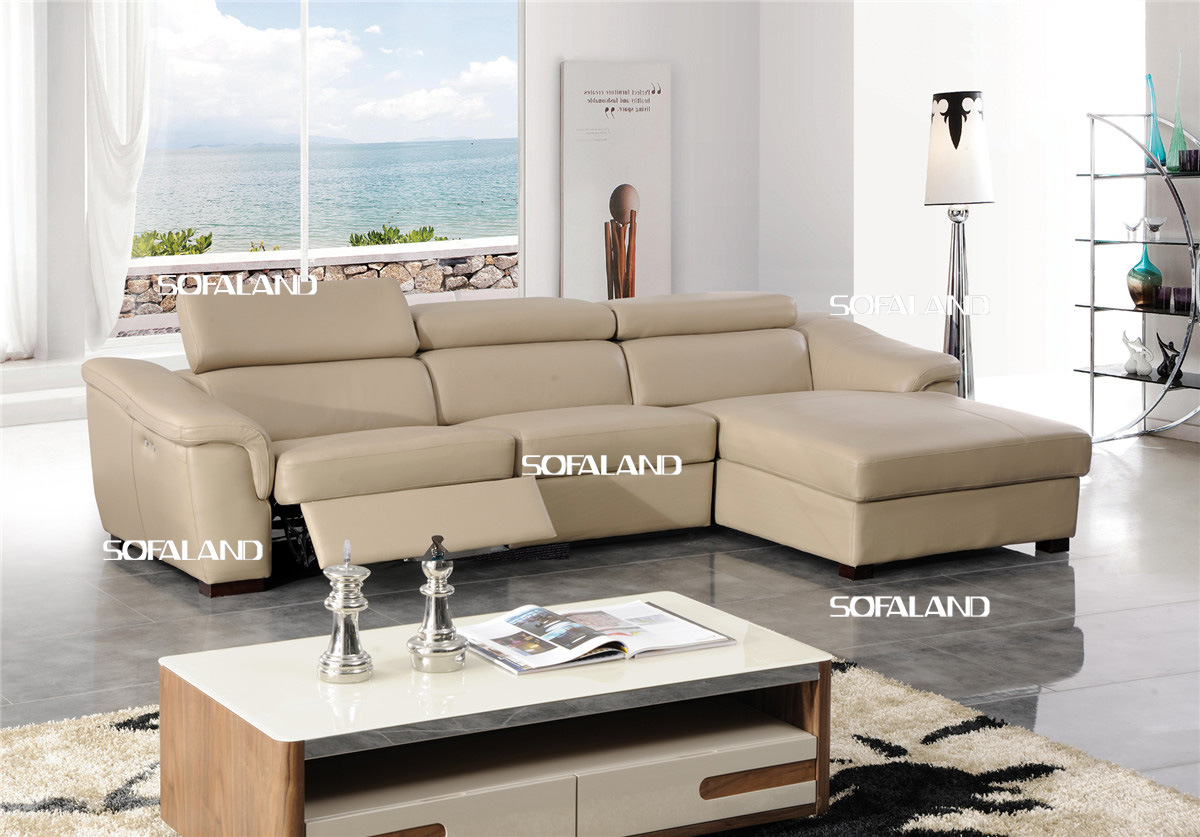China Beige Color Recliner And Storage Chaise Leather Corner Sofa China Leather Sofa Sofa