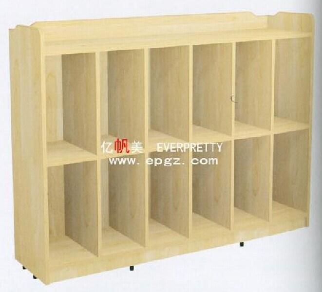 Wooden Kids Storage Bookshelf Cabinet with Wheels for Nursery School Furniture