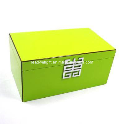 Green Lacquer Jewelry Box W/ Removable Tray