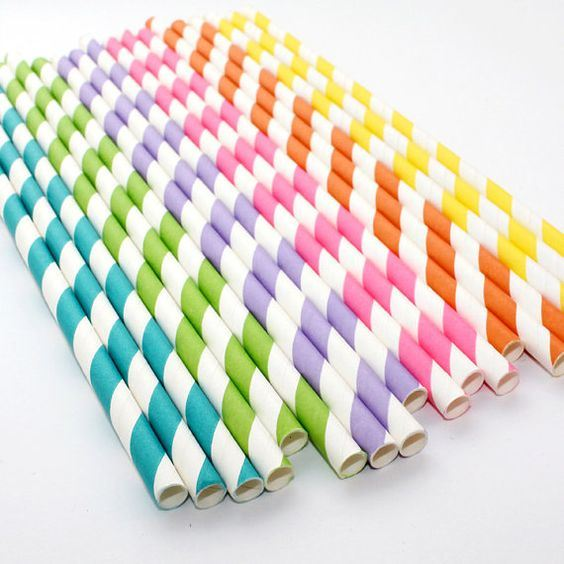 Wedding & Party Decoration Striped Chevron Paper Straw