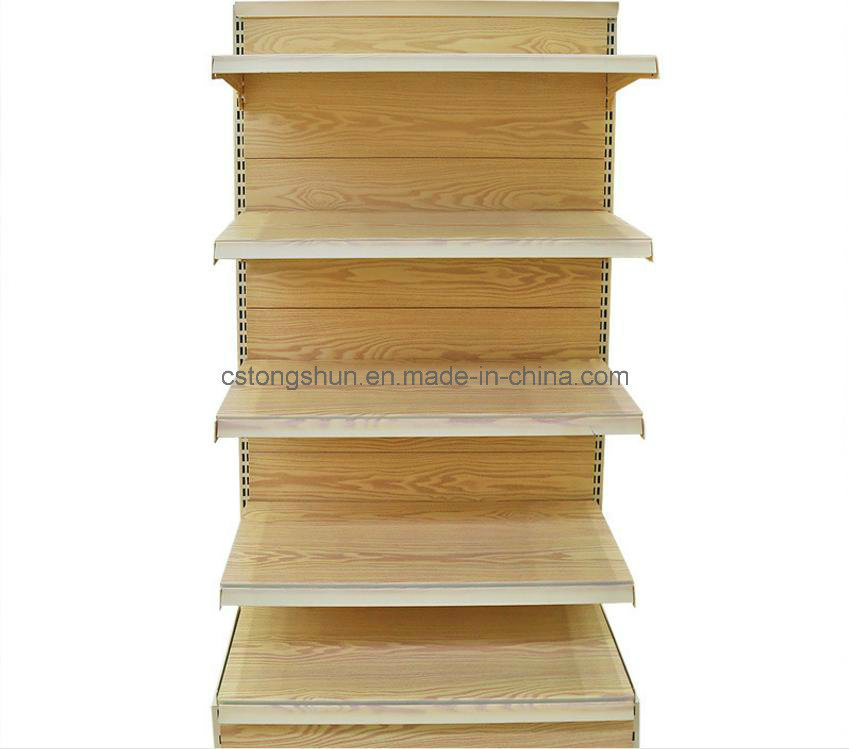 Dark Wood Grain Surface Upscale Supermarket Shelf
