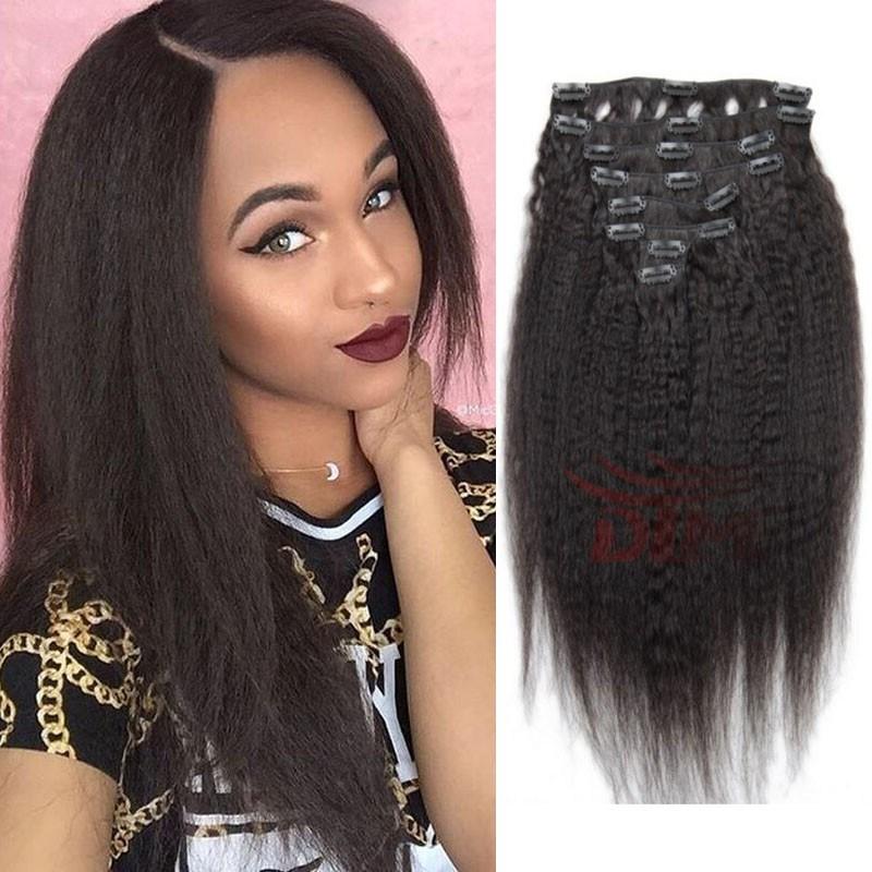 China Natural Black Italian Coarse Yaki Clip In Human Hair Extension