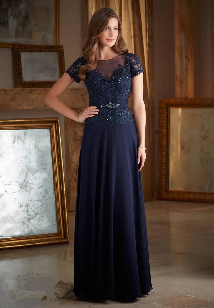 China Short Sleeve Lace and Chiffon Navy Blue Ladies Evening Dress ...