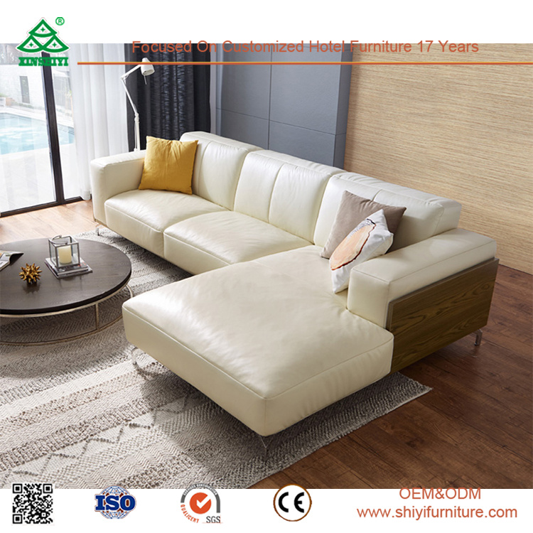 [Hot Item] Leather Wooden Sofa Hotel Lobby Furniture Golden Quality Modern  Leather Sofa for Sale Living Room Furniture
