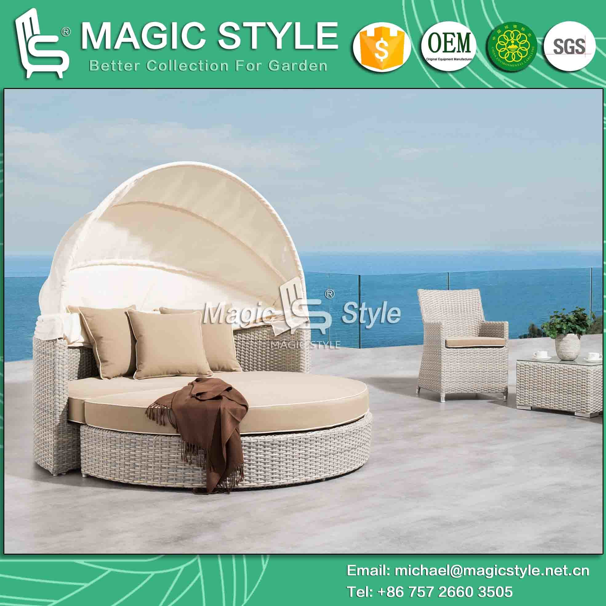 - China Rattan Wicker Daybed With Sunproof Cushion Outdoor Wicker