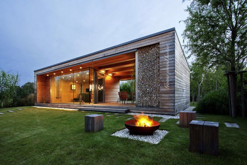 Flat Roof Modern Wood Timber House