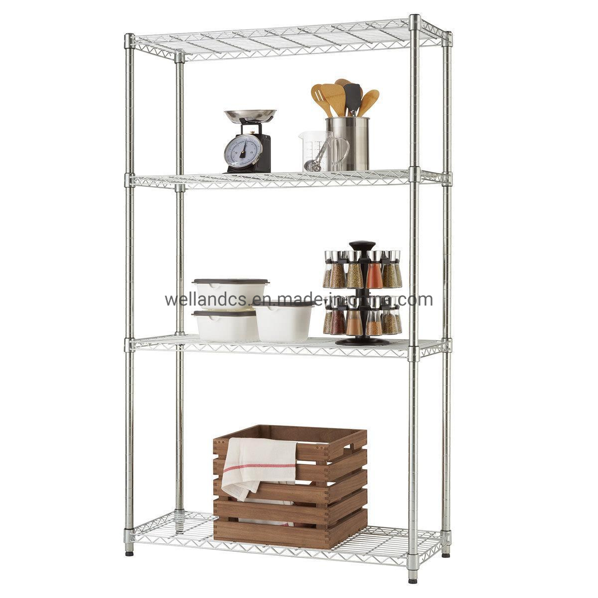 Hot Item Adjustable Metal Furniture Chrome Wire Shelving Rack Wholesale