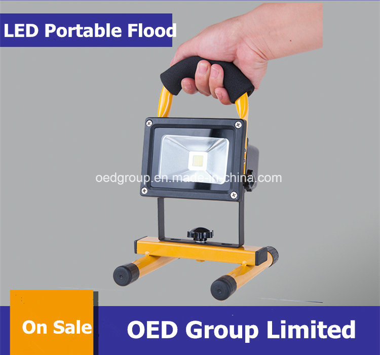 10W Portable Rechargeable LED Flood Light with Solar Panel
