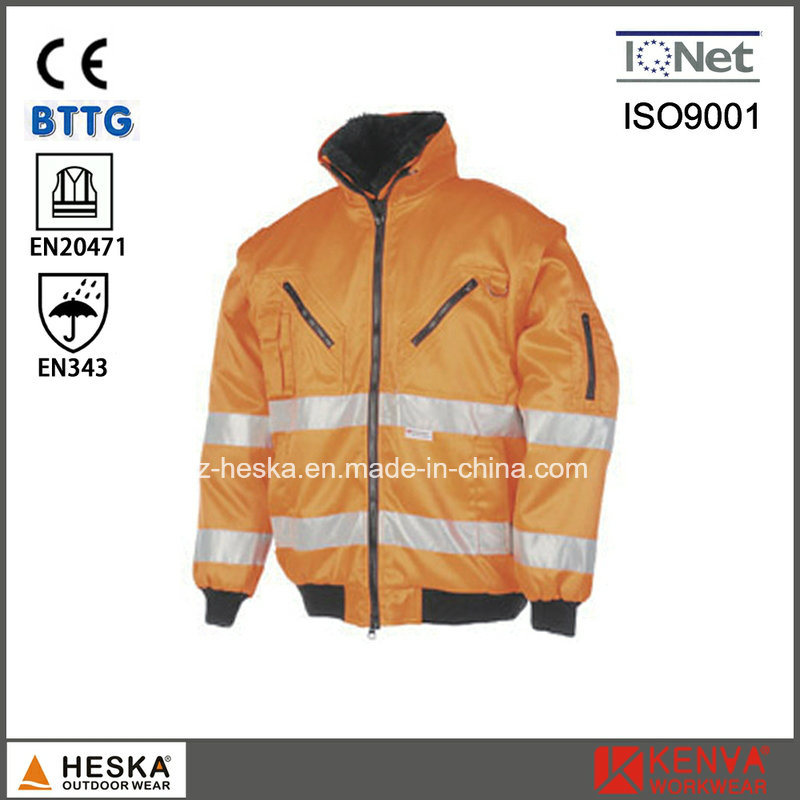 Mens Hi Vis Workwear Detachable Sleeve High Visibility 3 in 1 Bomber Jacket pictures & photos