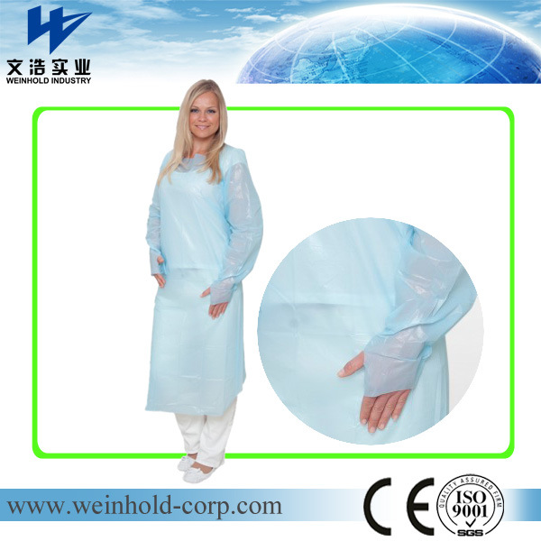 China Disposable CPE Plastic Gown Thumb Hole Hospital Gowns - China ...