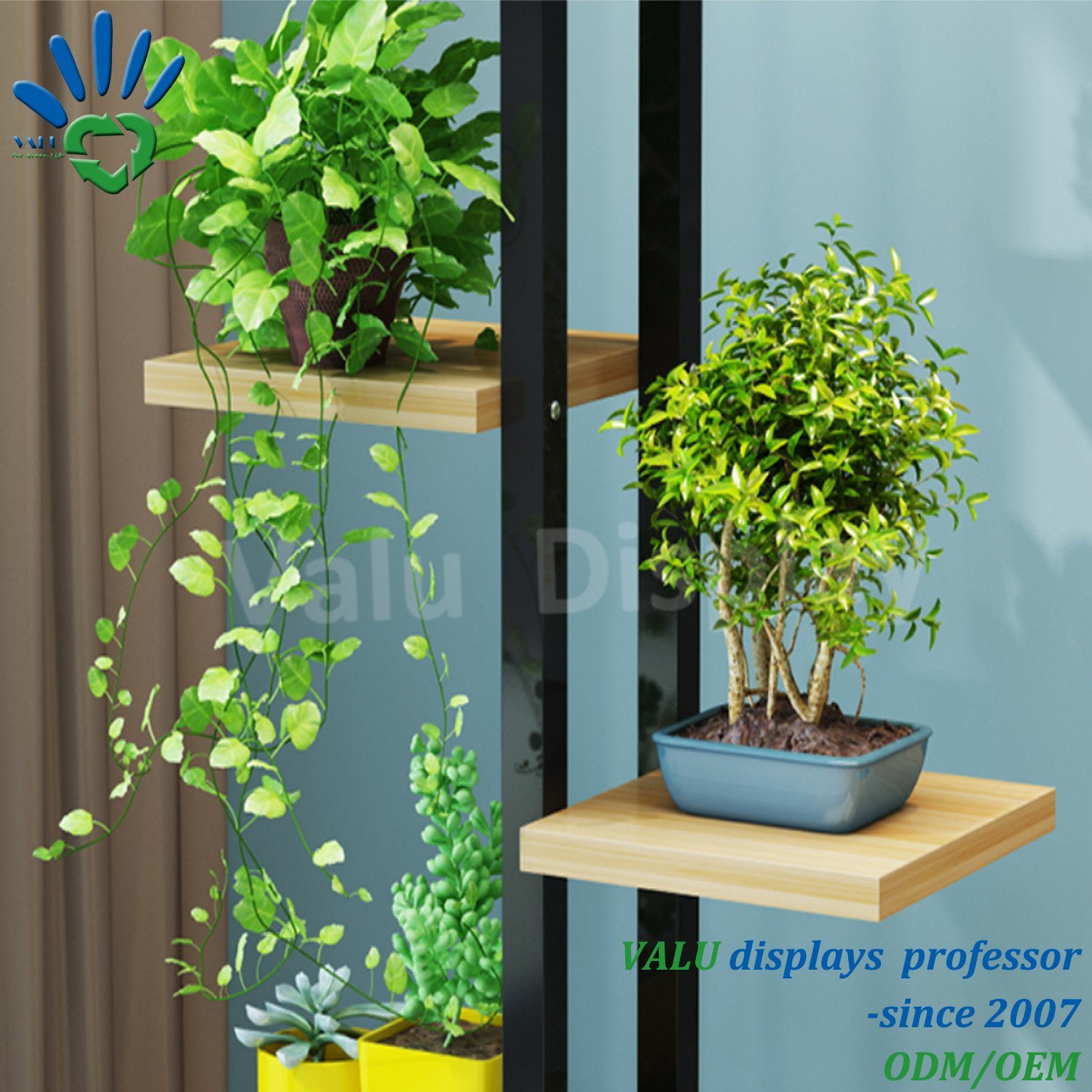Premium Bamboo Wooden Metal Plant Stand