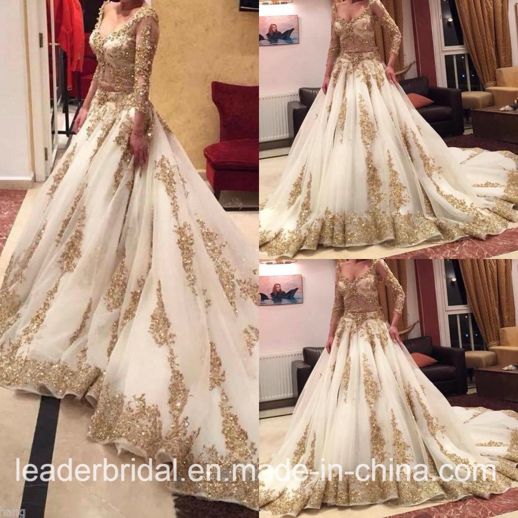 China 2017 Gold Lace Bridal Gown Sleeves Arabic Wedding Dress W15224 ...