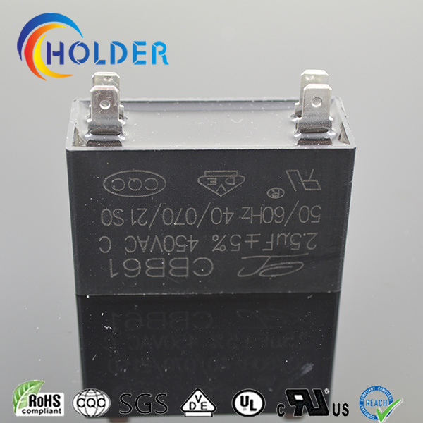 Metallized Polypropylene Fan Capacitor (Cbb61 255j/450VAC) for Fan Motors Fan Spare Parts with 4 Pins Black Box Start Motor Run