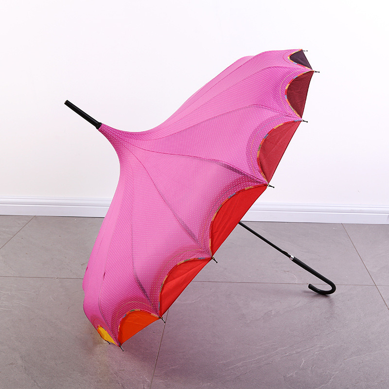 39b9a7b8115bf China Long Handle Gothic Classical Windproof Tower Pagoda Rain Umbrella Pink  - China Straight Umbrella, Golf Umbrella