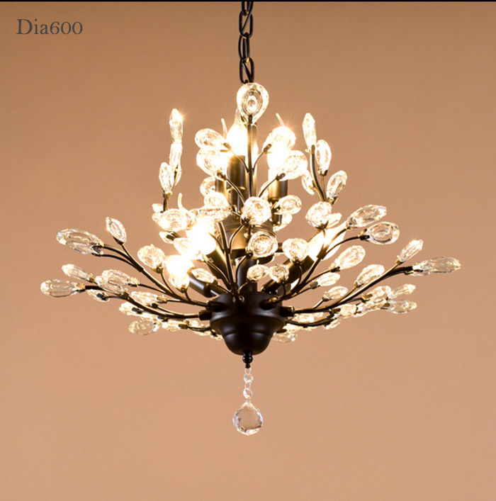 China Living Room 7 Lights Antique America Style Metal Crystal Chandelier Lamp Lighting Finished In Black Br Painting