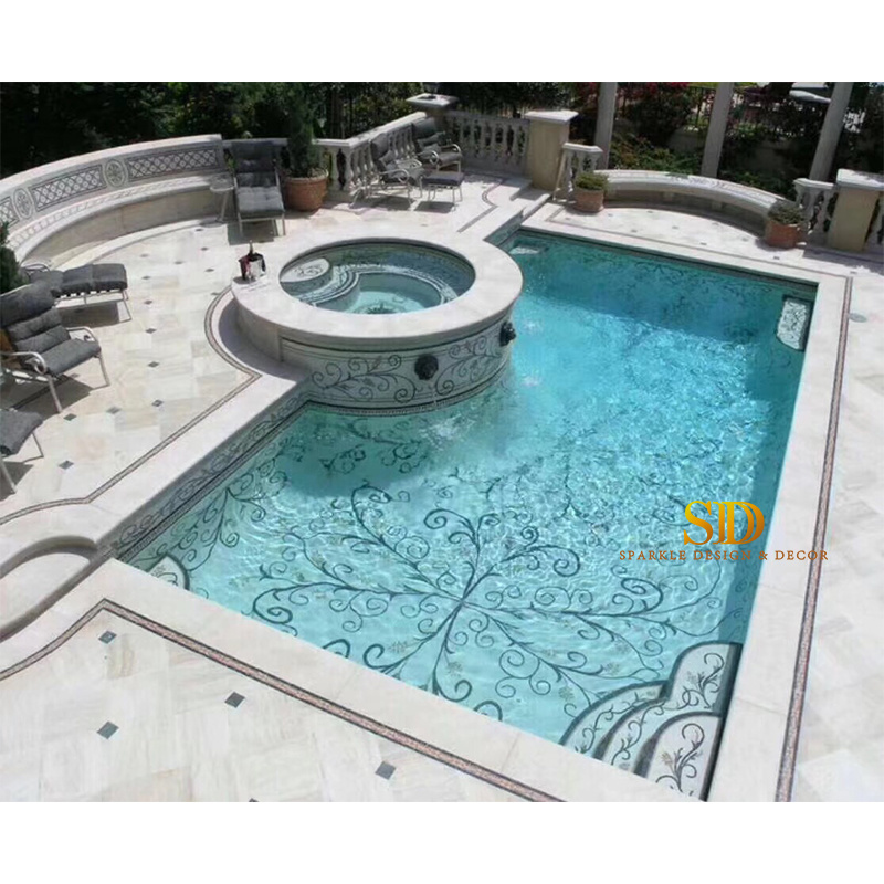 [Hot Item] Outdoor Swimming Pool Design Glass Mosaic Project Ideas Simple  Style Pool Mosaic Patterns