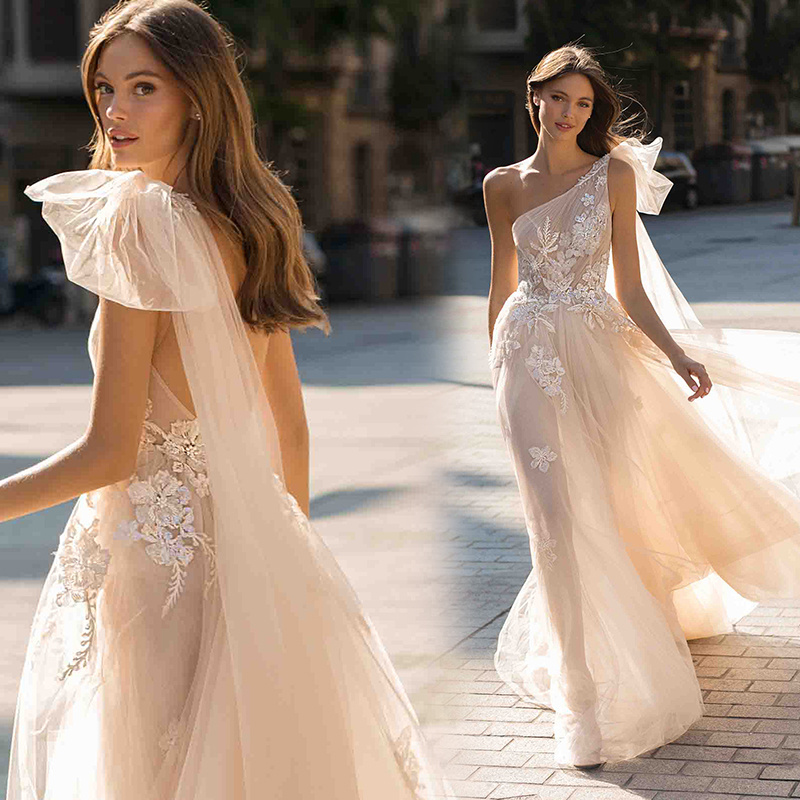 China Champagne Berta Bridal Gowns Lace Bodice One Shoulder
