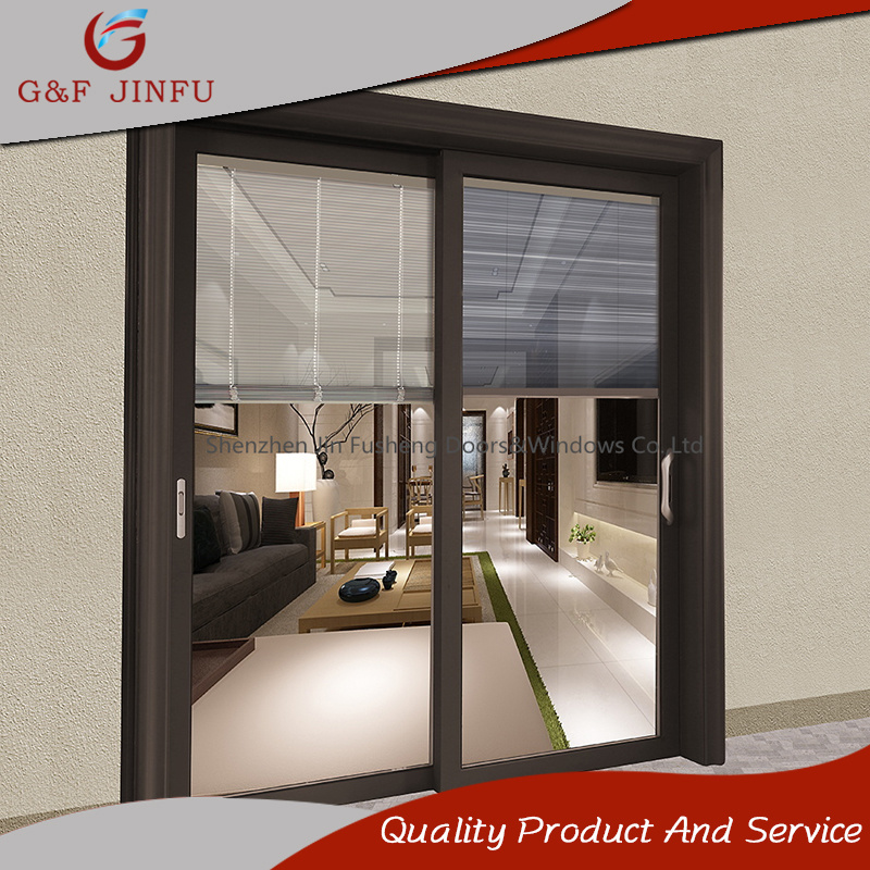 China Aluminium Glass Panel Sliding Door With Remote Control Blinds