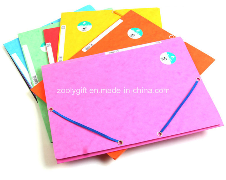 3 Flap Recycle Paper File Folder with Elastic Band Closure