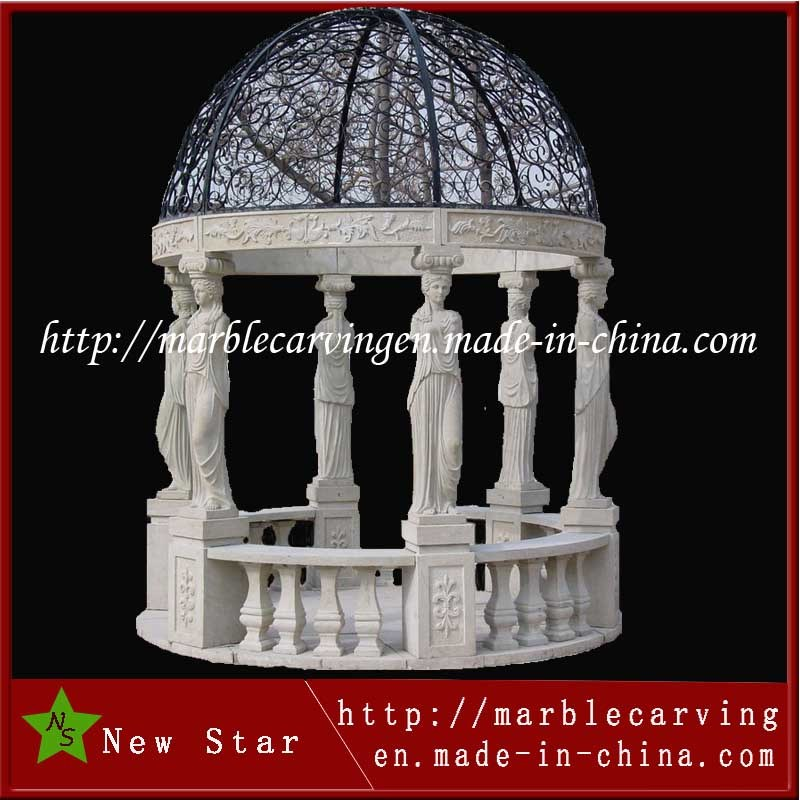 Decorative Stone Marble Garden Round Gazebo Pavilion with Metal Roof