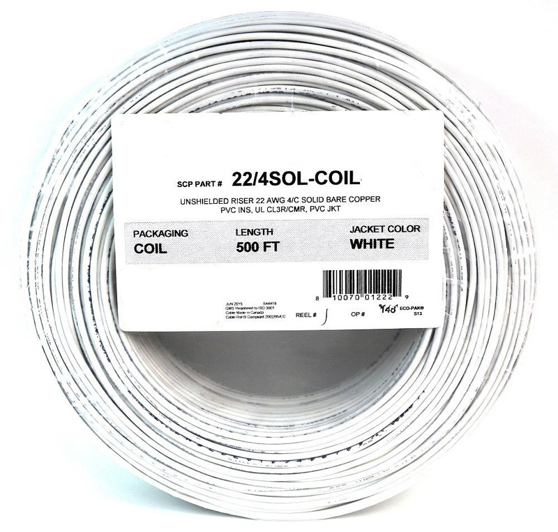 1000/' 22 AWG 4C Stranded CL3R//CMR Gray Overall Shielded Communications Cable