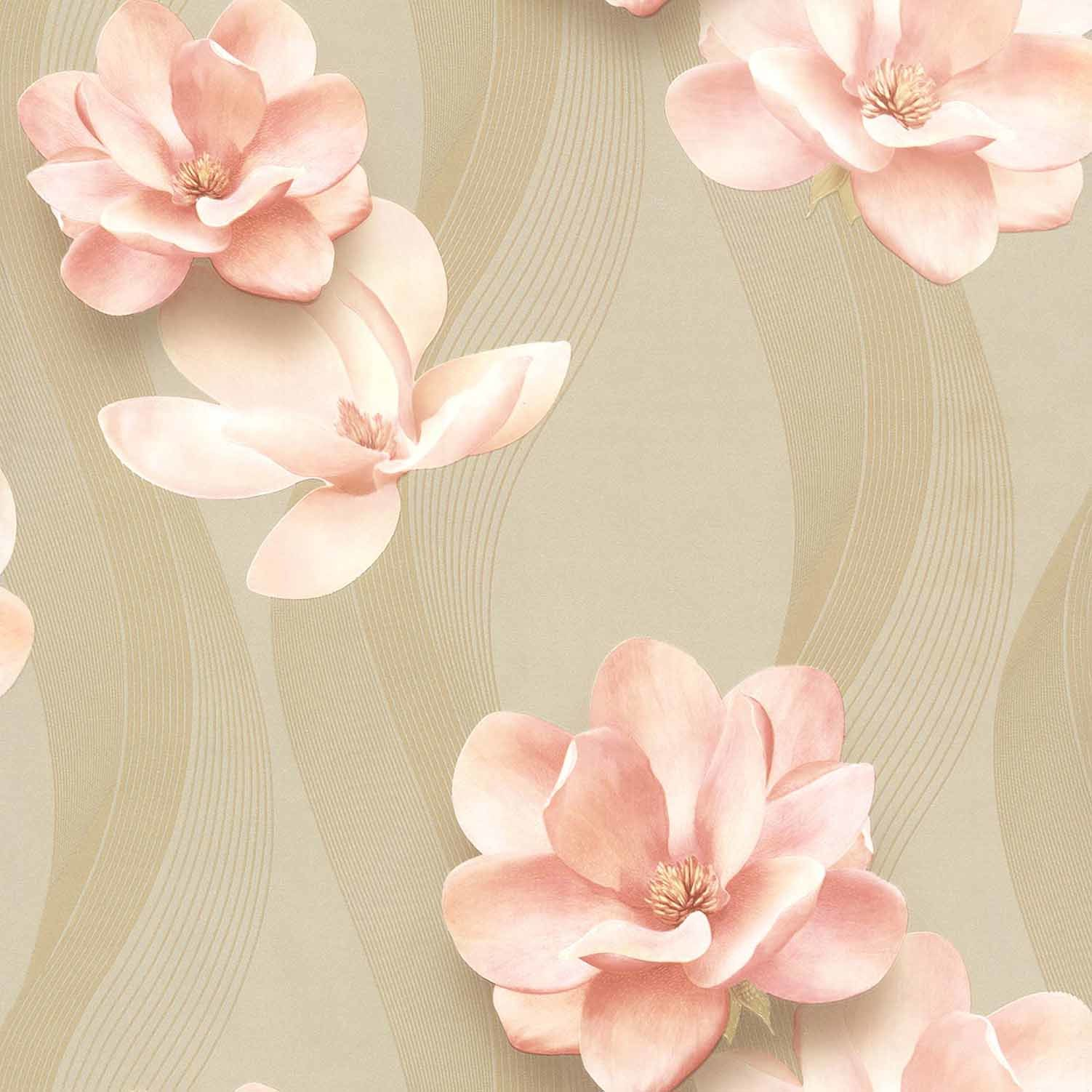 China Cheap Price Waterproof 3d Flower Wall Paper For Interior