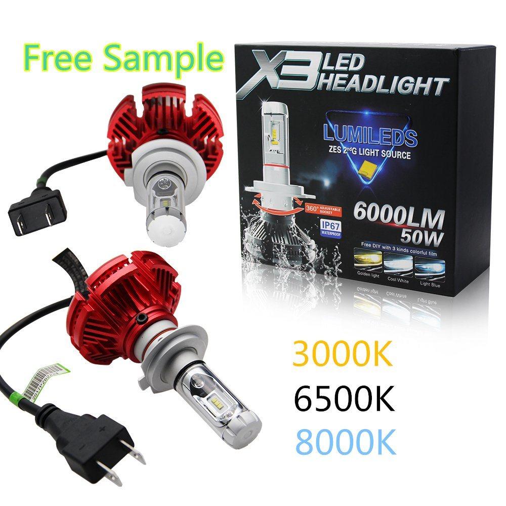 China X3 Car Light Replacement Xenon Bulbs Depo Auto Lamp H7 9007 H4 LED Headlight