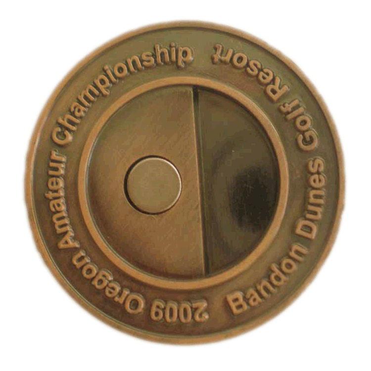 [Hot Item] Custom Gold Bandon Dunes Golf Resort Championship Magnetic  Novelty Double Sides Luxury Golf Money Clip (016)