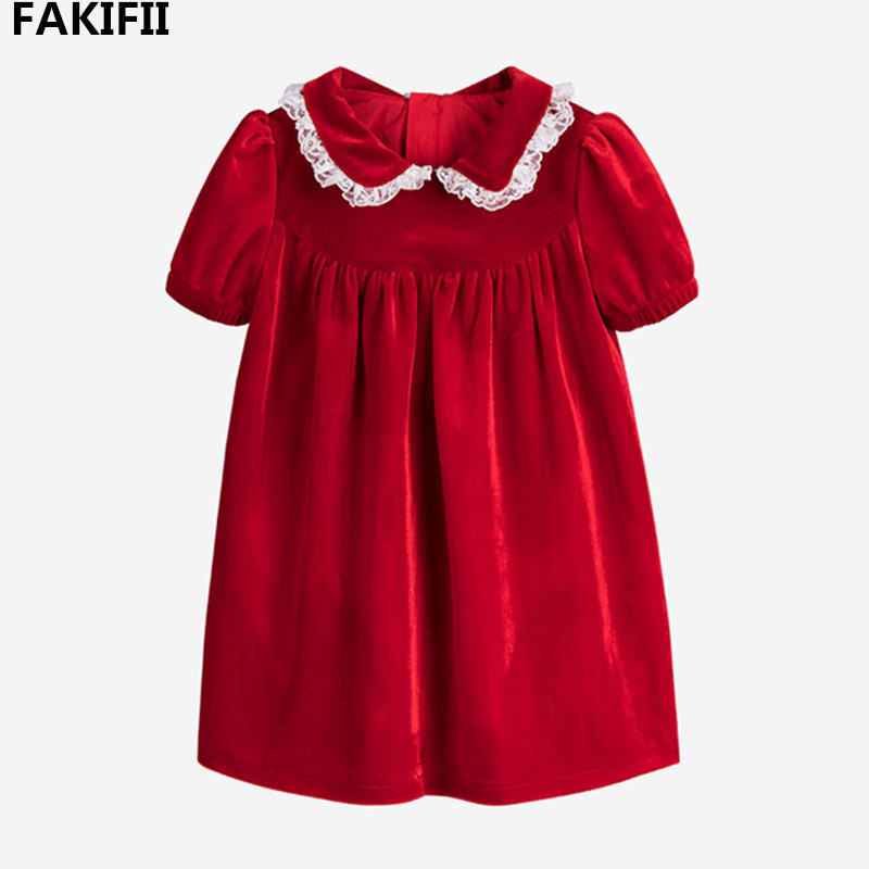 Christmas Clothes Style 2021 China Fakifii 2021 Autumn Fall Latest Style High End Girl Clothes Kid Christmas Red Velvet Short Sleeve Dress China Infant Wear And Baby Products Price