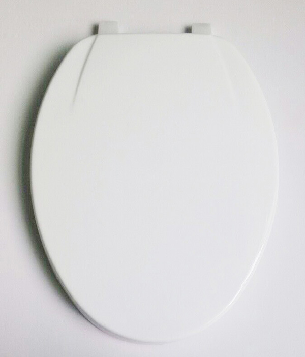 European/American Enlongated Whtie MDF Mould Wood Toilet Seat
