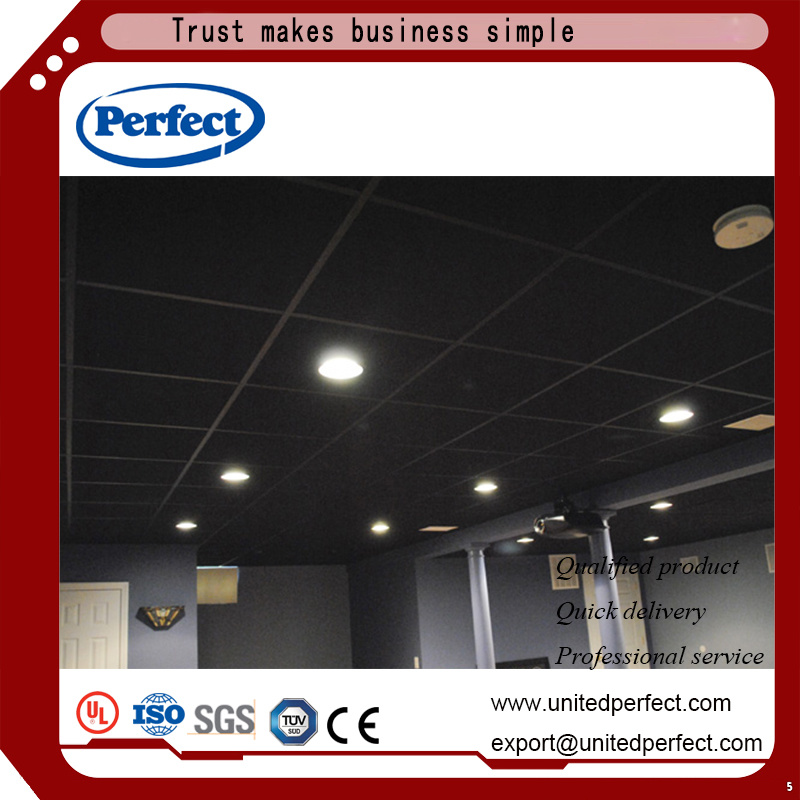China Black Fiberglass Ceiling Tile Suspended Panel With 600 1200 Glass Wool Acoustic Baffle