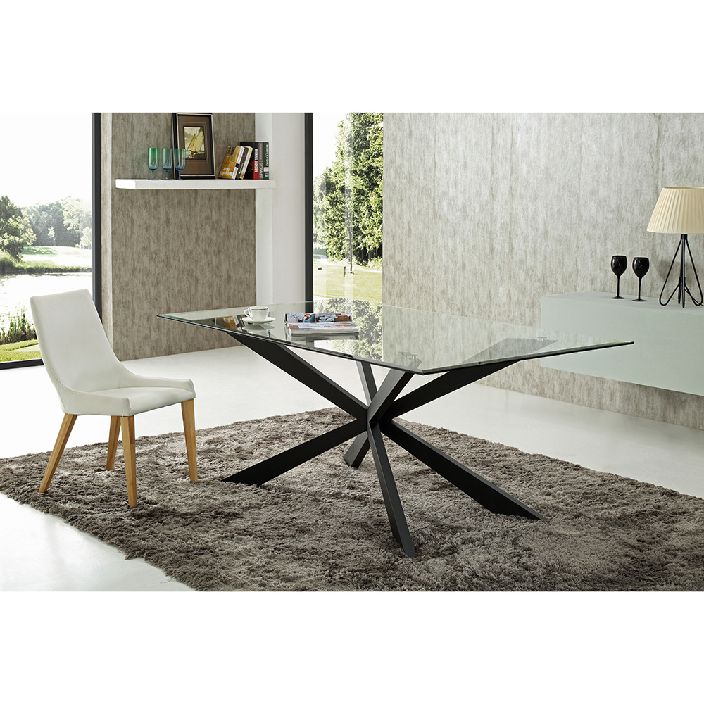 China New Design Glass Dining Table, Dining Room Set Metal Legs
