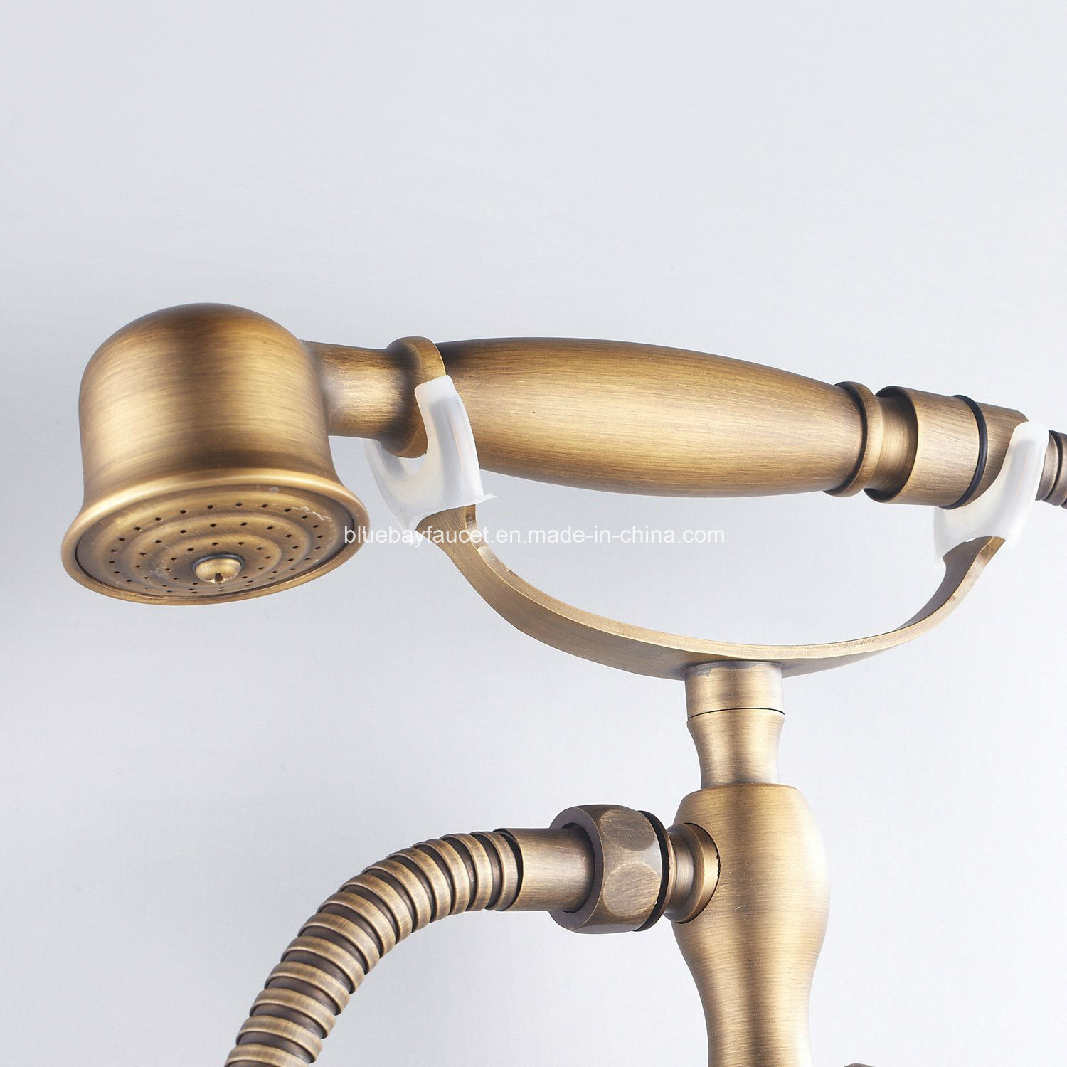 Wenzhou Artistic Wall-Mounted Double Handle Brass Bath Shower Faucet with Telephone Hand Shower
