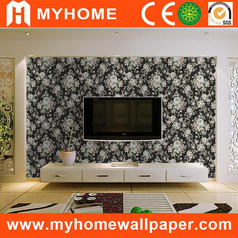 China Beautiful Flower Tv Background Living Room Pvc Wallpaper