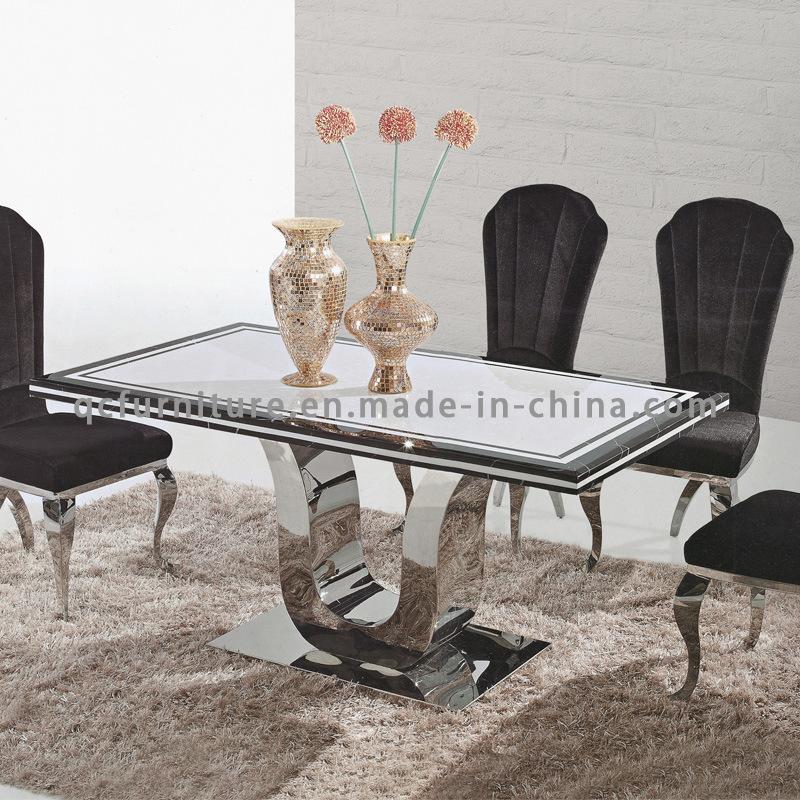Hot Item Modern Dining Room Dining Table Marble Top Metal Legs