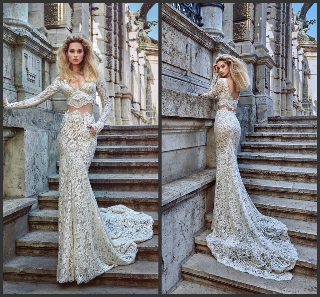 China Two Pieces Dubai Bridal Wedding Gown Mermaid Lace Long Sleeves ...