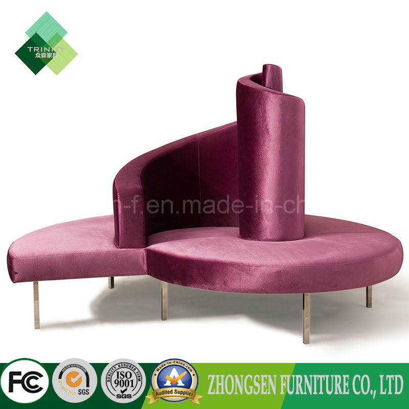 China New Design Lobby Furniture Round Lounge Sofa Chair On Fabric