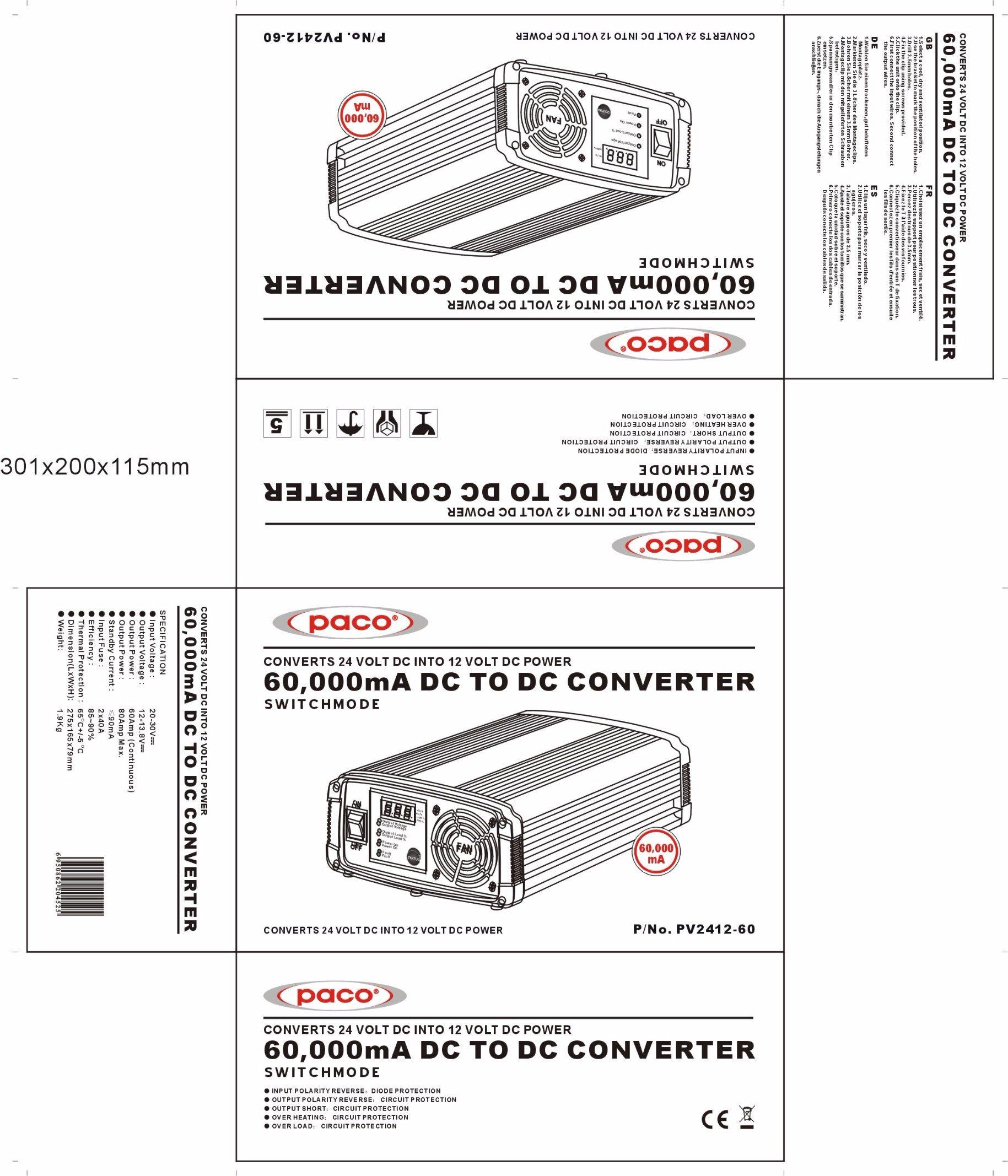 China Professional Dc To Converter 24v 12v 60a Digital Display 6 12 Volt Paco Ligao