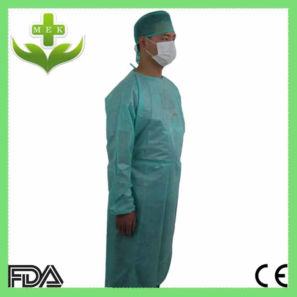 China Disposable PE Coated Surgical Gown with Knitted Cuffs - China ...