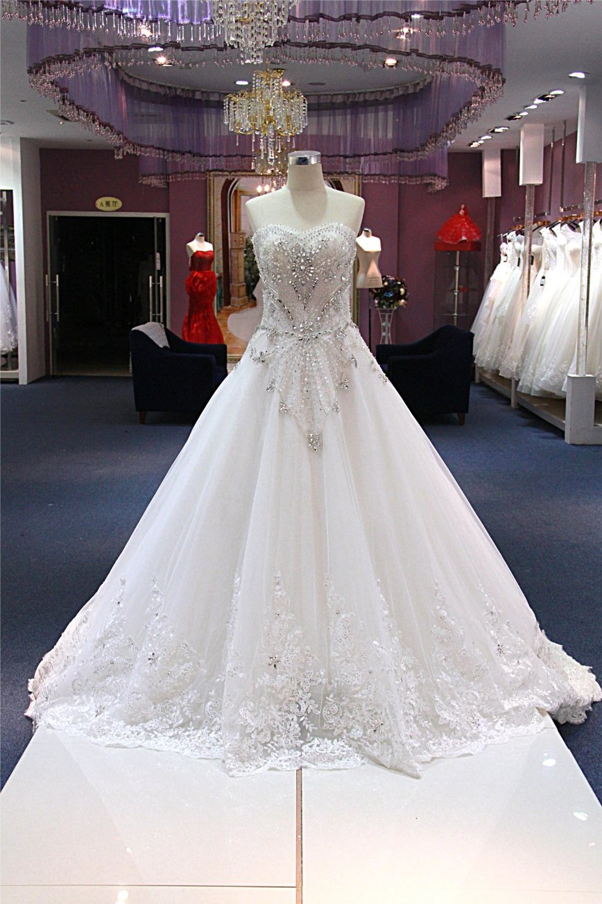 China Sweetheart Heavy Beading Bridal Gown Crystal Wedding Dresses ...