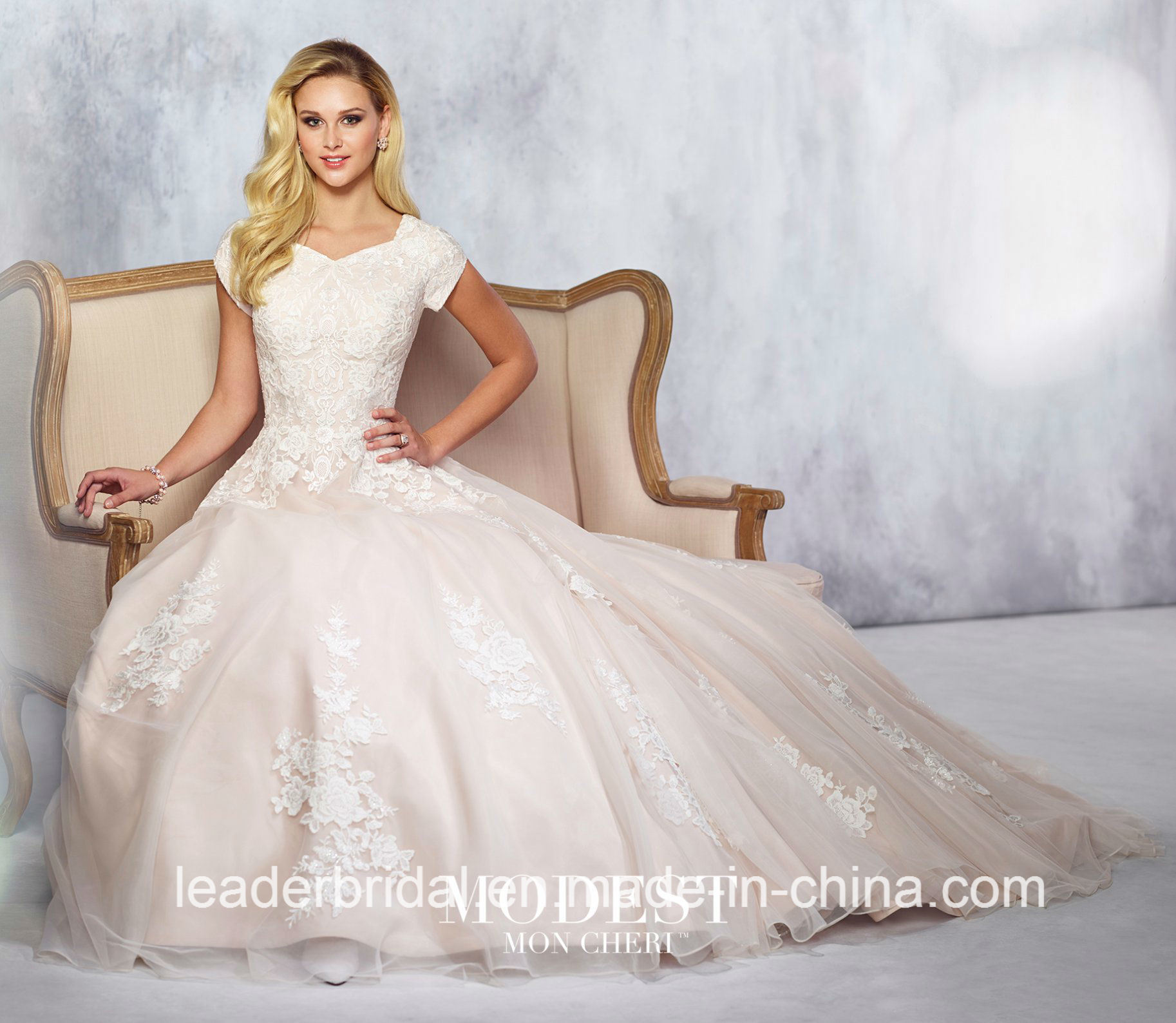 China Lace Bridal Gowns Short Sleeves Satin Tulle Custom Wedding ...