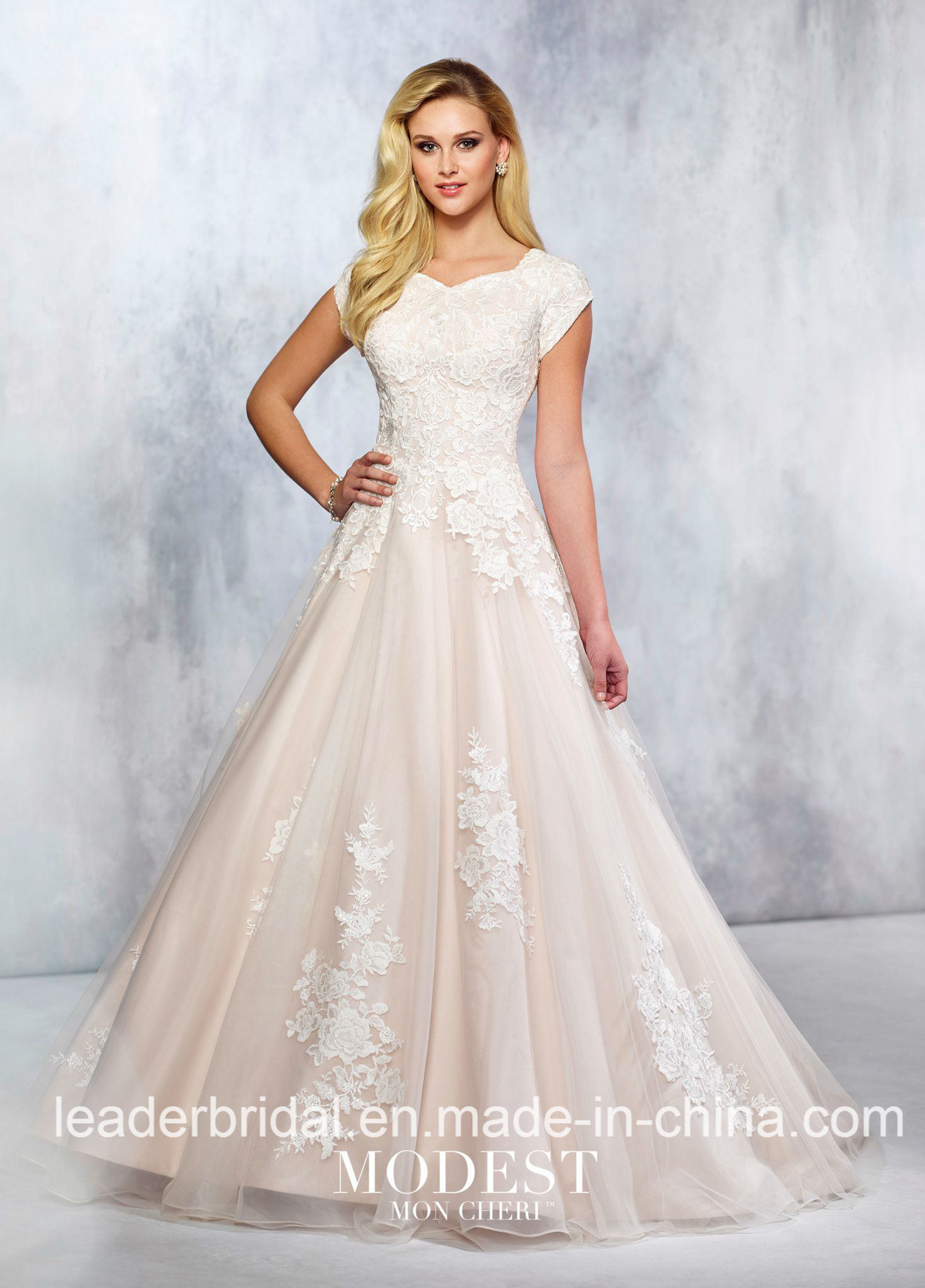 Lace Bridal Gowns Short Sleeves Satin