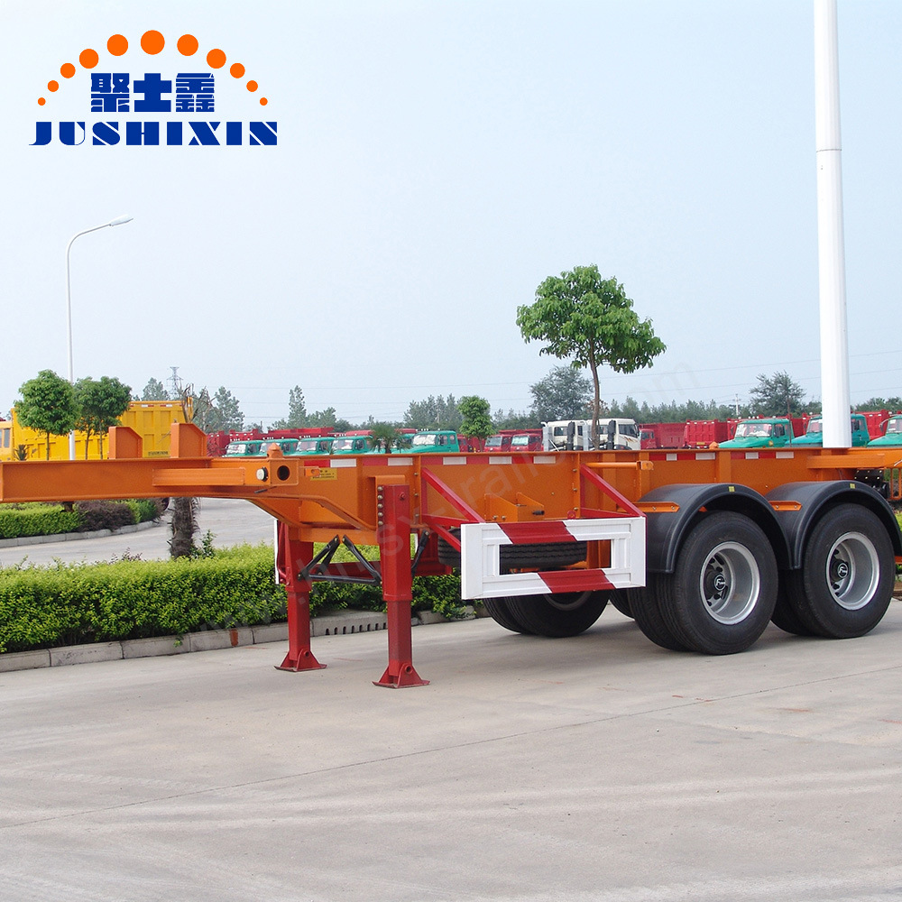 China 2 Axles Skeleton Chassis 40ft Flatbed Container Utility Truck Double Car Trailer 24 Foot Gooseneck Trailers Semi With Carrier