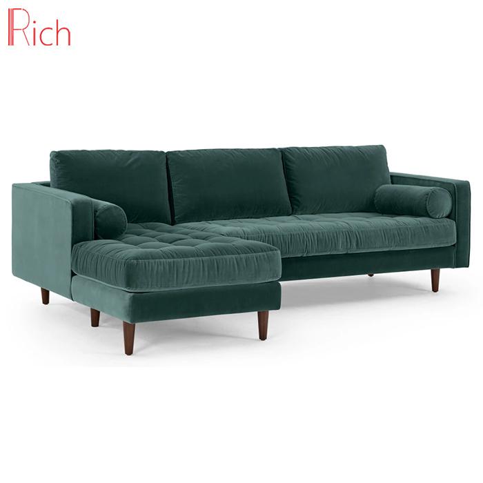 [Hot Item] Living Room Furniture Sectional Couch Green Velvet Corner Sofa