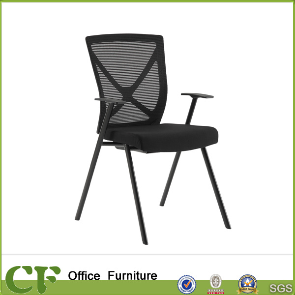 China 4 Leg Black Steel Frame Office Chairs With Lumbar Support Chair