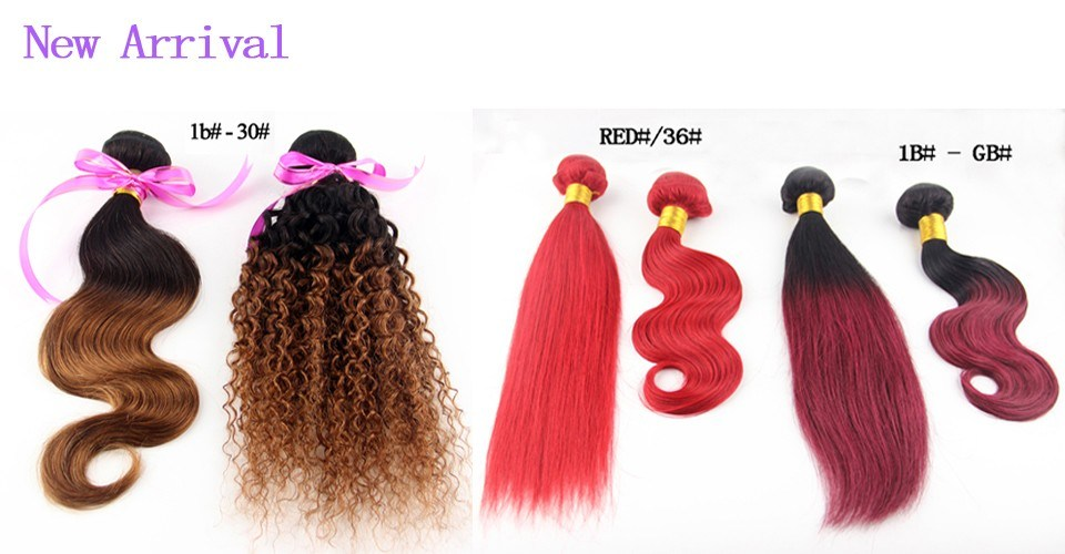 China Queen Brazilian Kinky Curly Ombre Hair Extensions Hair Color